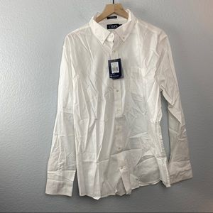 CHAPS Men's White Long Sleeve Oxford Shirt, XL